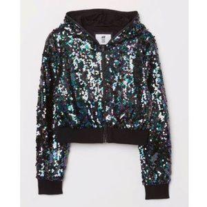 H&M Girls Black Sequin Hoodie Jacket